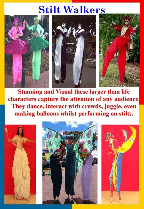 Brisbane Stilt walkers and street performers